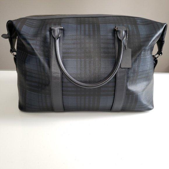 Coach Voyager Duffel Bag Leather Twill Plaid